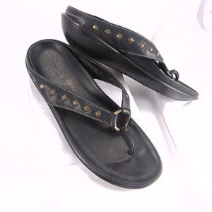 Donald J Pliner Black Leather Wedge Sandals Size 9
